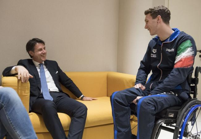 Il Presidente Conte incontra Manuel Bortuzzo