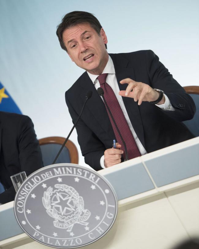 Il Presidente del Consiglio, Giuseppe Conte, in conferenza stampa