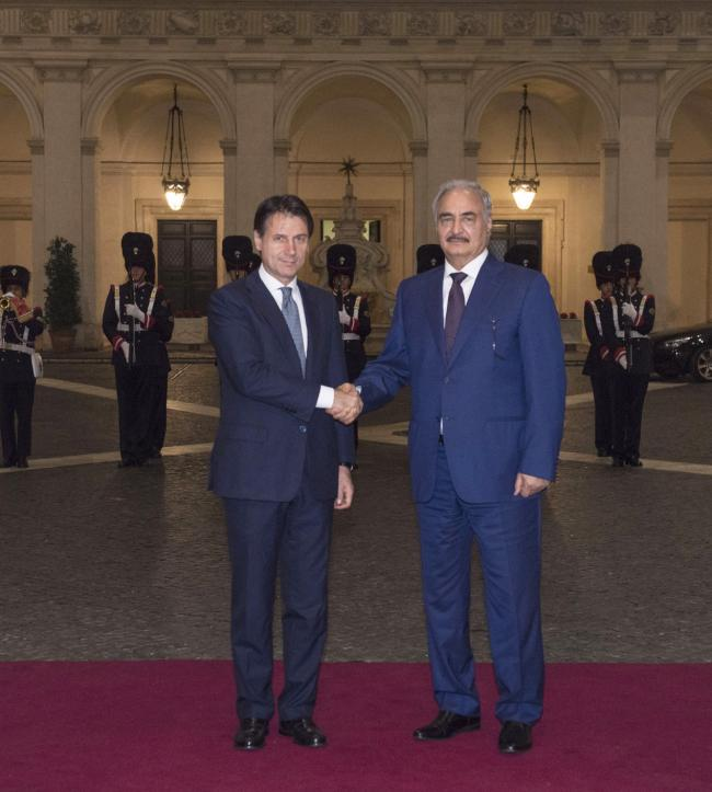 Il Presidente Conte riceve il Generale Khalifa Haftar a Palazzo Chigi