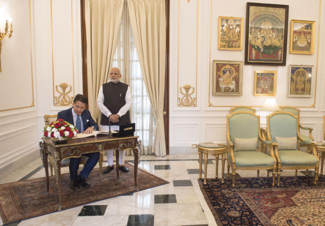 Il Presidente Conte con il Primo Ministro indiano Narendra Modi