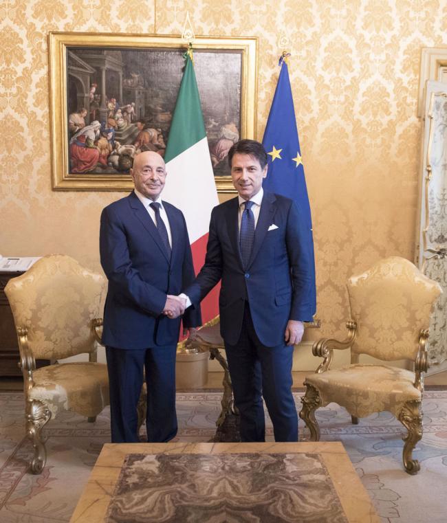 Il Presidente Conte con il Presidente della Camera dei Rappresentanti libica