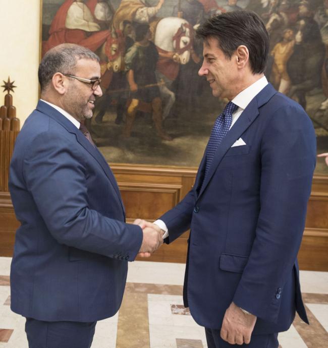 Il Presidente Conte con il Presidente dell'Alto Consiglio di Stato libico