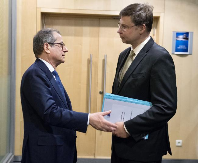 Il Ministro Tria con il Vice Presidente della Commissione Dombrovskis