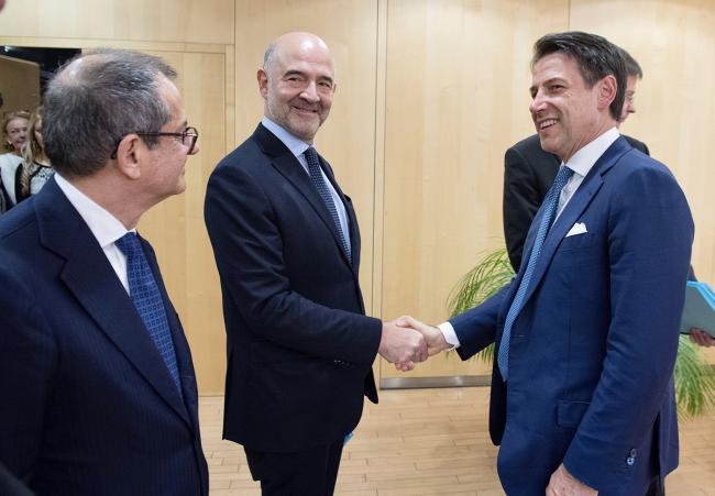 Il Presidente Conte con il Commissario europeoPierre Moscovici