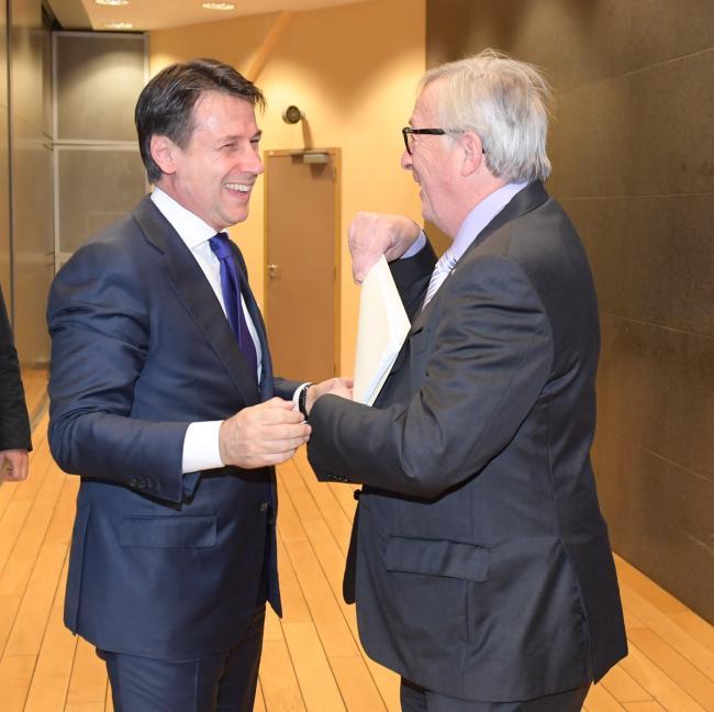 Il Presidente Conte con il Presidente Juncker