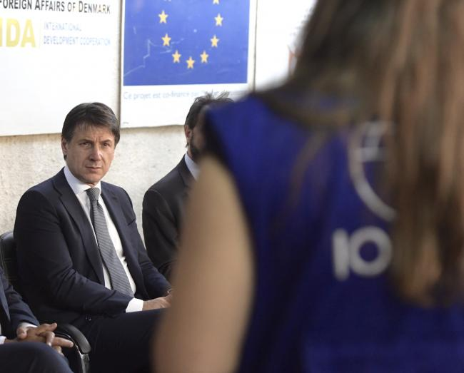 Il Presidente Conte visita il Centro OIM