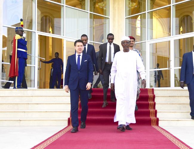 Il Presidente Conte con il Presidente della Repubblica del Ciad Déby