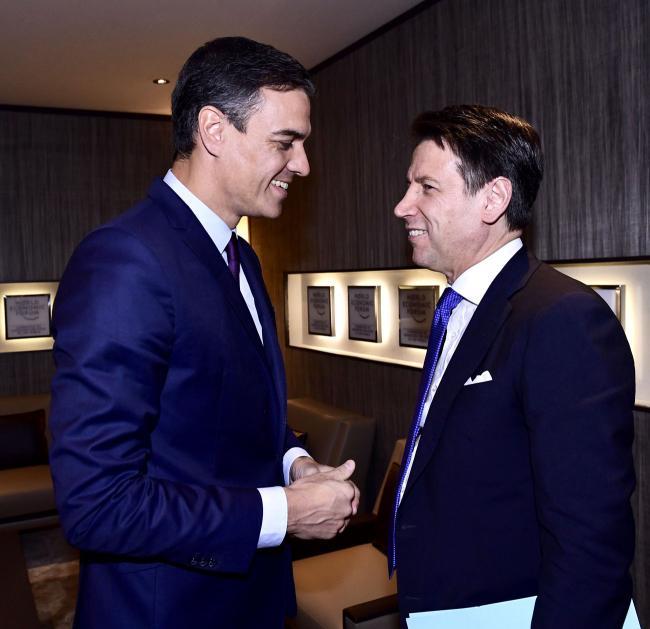Il Presidente Conte con il Presidente spagnolo, Pedro Sánchez