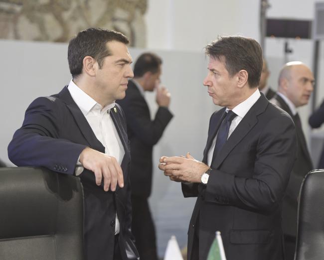 Conte con il Primo Ministro della Grecia, Alexis Tsipras
