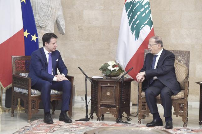 Il Presidente Conte con il Presidente della Repubblica Libanese