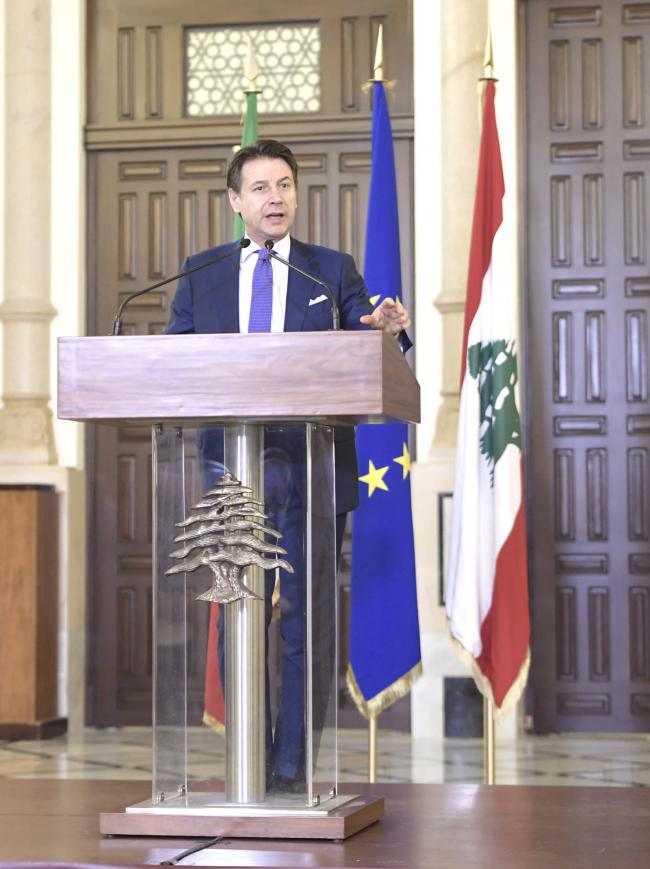 Conferenza stampa del Presidente Conte e del Presidente del Consiglio libanese