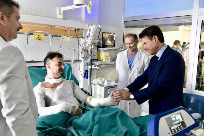 Il Presidente Conte all'ospedale di Cesena