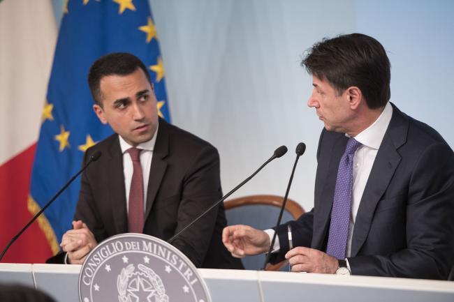 Conferenza stampa Conte - Di Maio - Giorgetti
