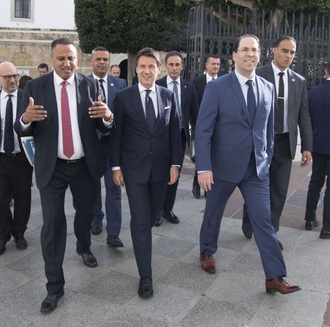 Il Presidente Conte con il Primo Ministro Chahed