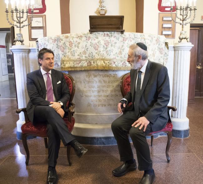 Conte in visita alla Comunità Ebraica