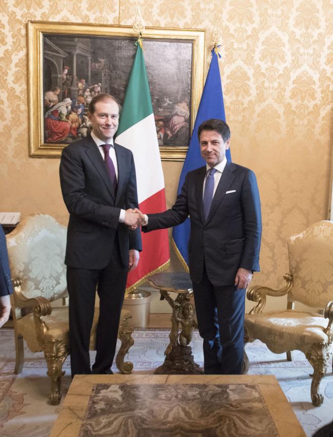 Il Presidente Conte incontra il ministro dell'Industria russo Manturov
