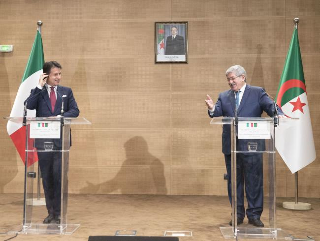 Il Presidente Conte e il Primo Ministro Ouyahia in conferenza stampa