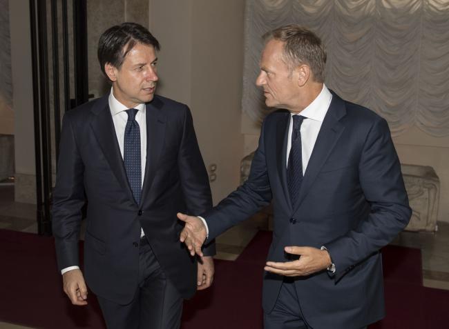 Il Presidente Giuseppe Conte con Donald Tusk a Palazzo Chigi