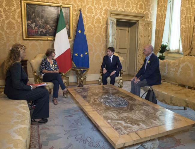 Il Presidente Conte con i genitori di Giulio Regeni a Palazzo Chigi