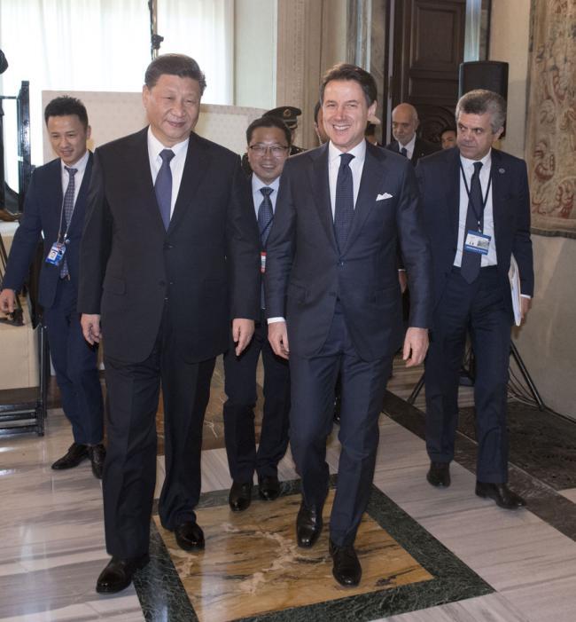 Il Presidente Conte e  il Presidente Xi Jinping a Villa Madama