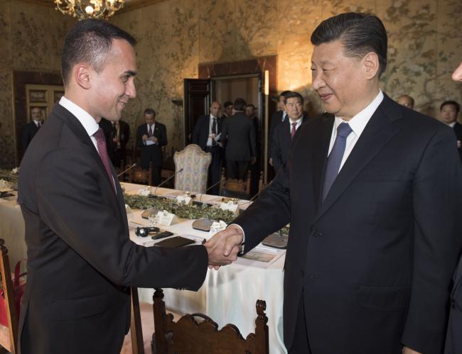 Il Vice Presidente Di Maio e il Presidente Xi Jinping a Villa Madama