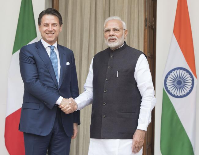 Il Presidente Conte con il Primo Ministro indiano Modi