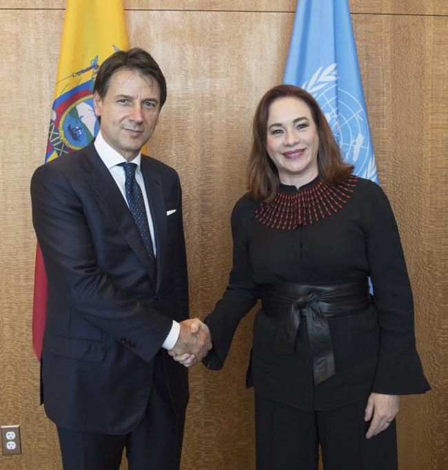Il Presidente Conte con la Presidente della 73ª Assemblea Generale Espinosa