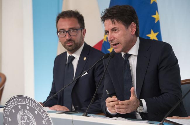 Consiglio dei Ministri n. 11, il Presidente Conte e il Ministro Bonafede in conferenza stampa
