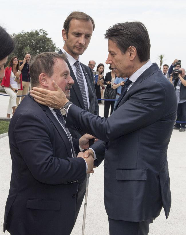Il Presidente Conte con il Sottosegretario Zoccano e il Presidente della Regione Friuli Venezia Giulia
