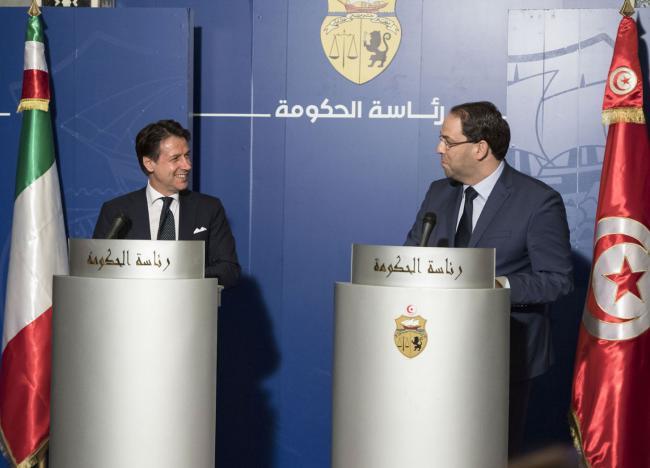 Il Presidente Conte in conferenza stampa con il Primo Ministro Youssef