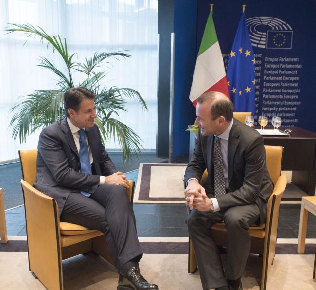 Conte incontra il Presidente del Gruppo del Partito popolare europeo, Manfred Weber