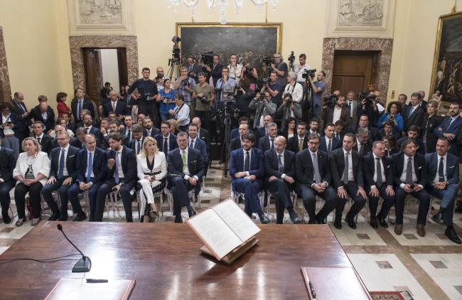 La cerimonia di giuramento dei Sottosegretari di Stato nella Sala dei Galeoni di Palazzo Chigi