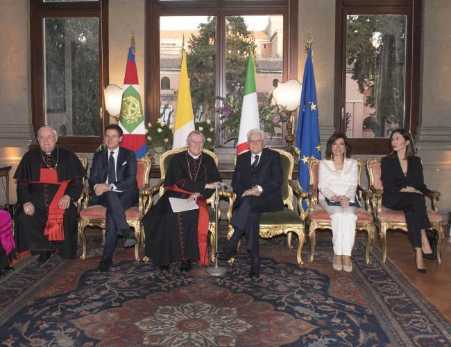 Conte a Palazzo Borromeo in occasione del 90° anniversario dei Patti Lateranensi e del 35° anniversario dell'accordo di modificazione del Concordato