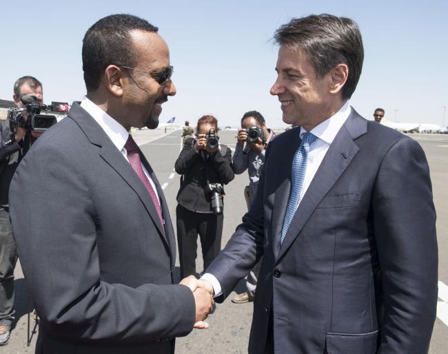 IIl Presidente Conte è accolto dal Primo Ministro d'Etiopia