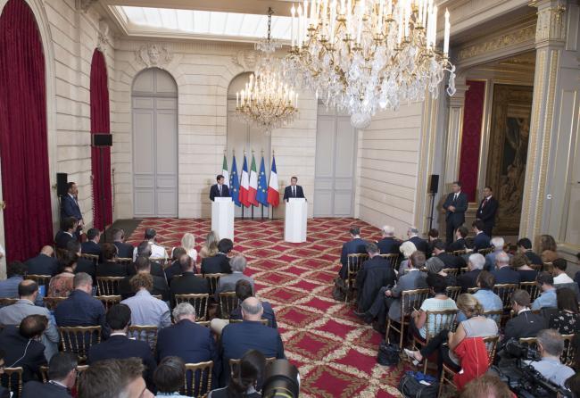 Conferenza stampa Conte - Macron