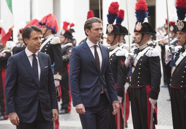 Il Presidente Conte con il Cancelliere federale austriaco Kurz