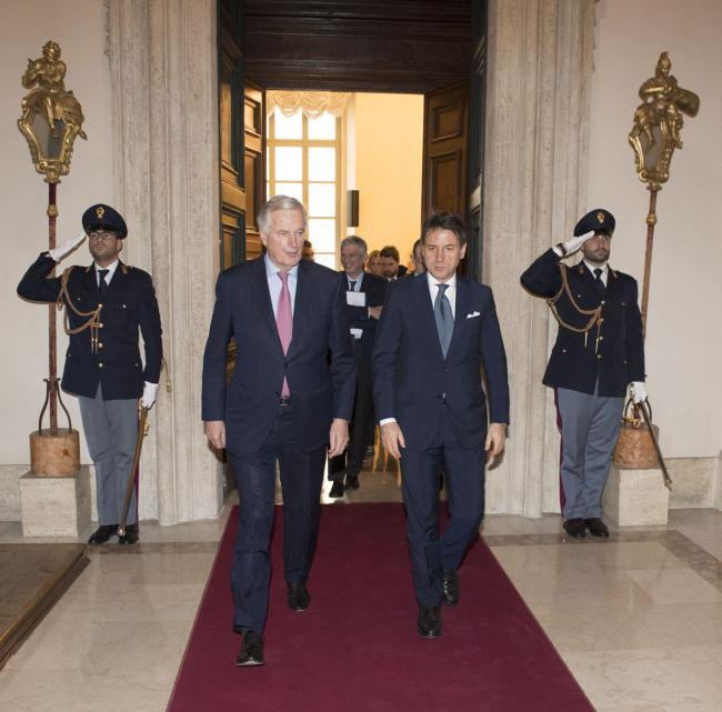 Il Presidente Conte con il Capo Negoziatore della Commissione europea per la Brexit