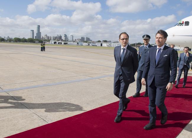 Il Presidente Conte al suo arrivo a Buenos Aires