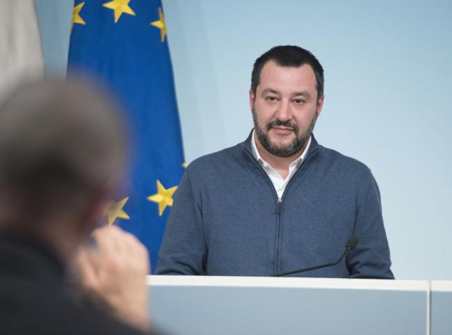 Il Ministro dell'Interno Matteo Salvini in conferenza stampa