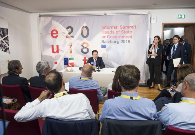 Salisburgo, conferenza stampa del Presidente Conte