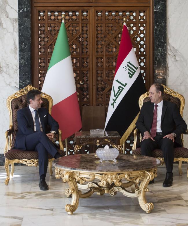 Il Presidente Conte al suo arrivo in Iraq