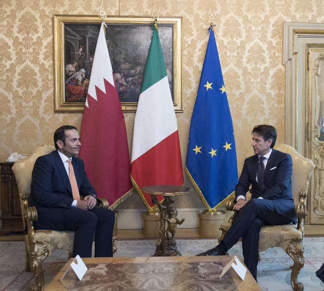 Conte con il Vice Premier e Ministro degli Affari Esteri del Qatar