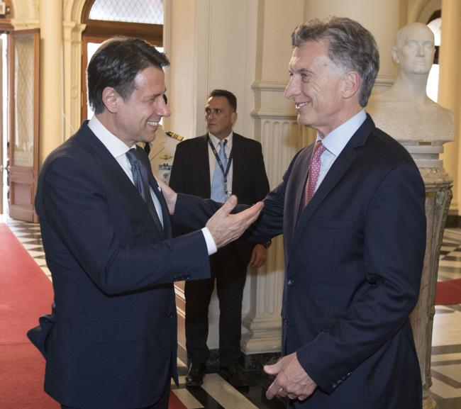Incontro del Presidente Conte con il Presidente argentino Macri