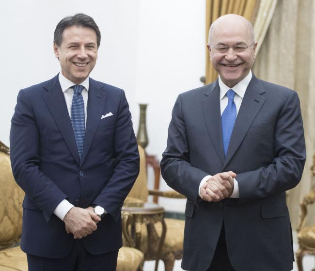 Il Presidente Conte con il Presidente della Repubblica dell'Iraq