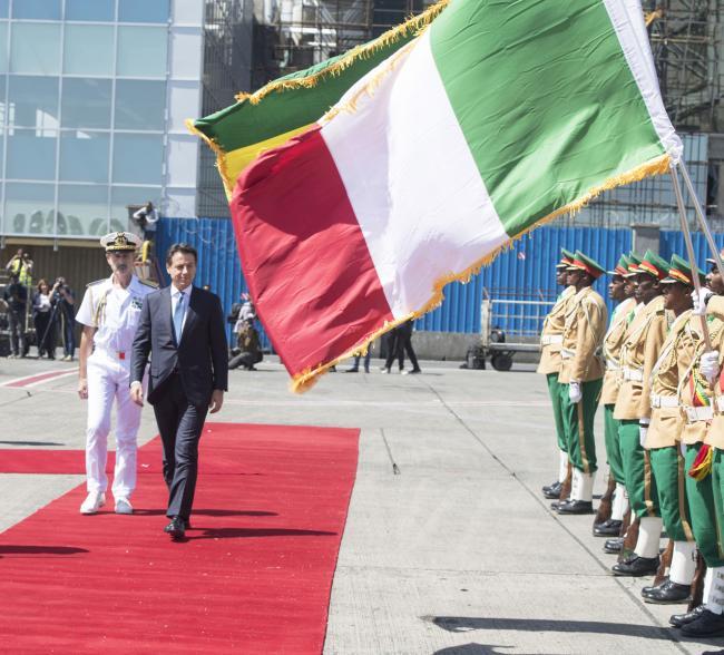 Il Presidente Conte al suo arrivo in Etiopia