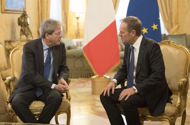 Gentiloni riceve il Presidente del Consiglio Europeo Donald Tusk
