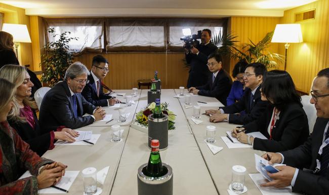 Gentiloni incontra il Presidente di Bank of China