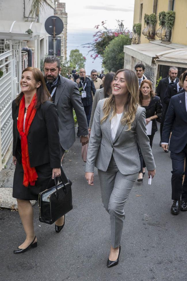 La Sottosegretaria Boschi durante la seconda giornata del G7 sulle Pari Opportunità