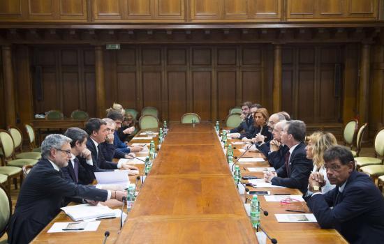 Renzi Incontra l'Associazione nazionale magistrati e il Consiglio nazionale forense