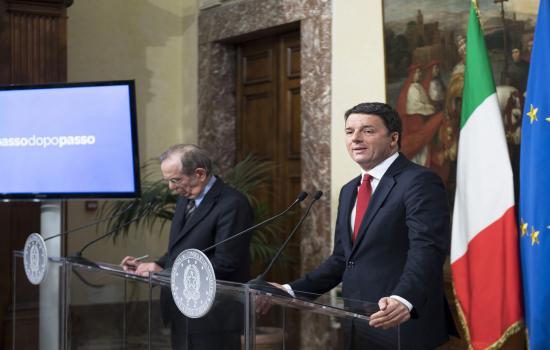 Conferenza stampa Renzi - Padoan